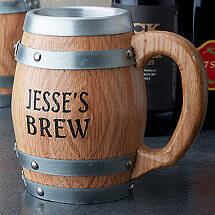 Personalized Oak Barrel Stainless Steel Mug