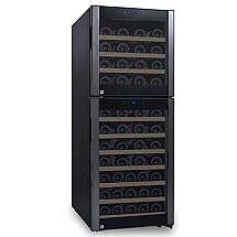 73-Bottle Evolution Series Dual Zone Wine Refrigerator Black Stainless Door (Natural Wood Shelves)