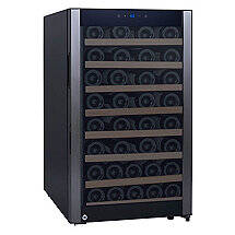 52-Bottle Evolution Series Wine Refrigerator Black Stainless Door (Natural Wood Shelves)