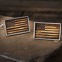 Reclaimed Bourbon Barrel American Flag Cufflinks