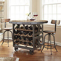 Repurposed Industrial Wine Storage Pub Table with 2 Stools
