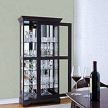 Glassware Display Curio Cabinet with Sliding Door
