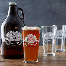 Personalized Etched 'CRAFT BREWERY' Growler and Pint Glasses Set