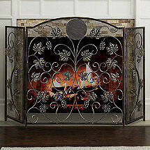 Grapevine Fireplace Screen with Single Initial