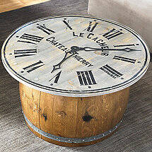 Distressed Clock Glass Top Coffee Table