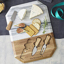Personalized Geo Marble And Wood Cheeseboard With Spreaders