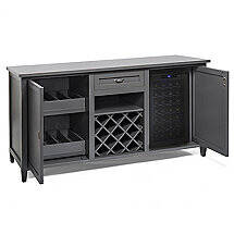 Firenze Wine and Spirits Credenza with 28 Bottle Touchscreen Wine Refrigerator (Antique Gray)