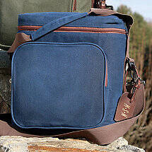 6-Bottle Waxed Canvas Weekend Wine Bag (Blue)
