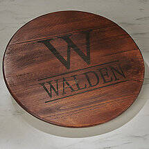 Personalized Raised Wine Barrel Lazy Susan with Initial & Name