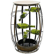 Wine Barrel Shaped Fountain with Tiered Wine Bottles